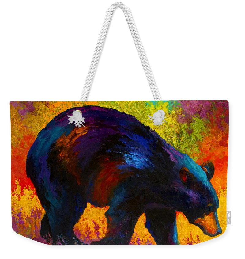 Bear Weekender Tote Bag featuring the painting Roaming - Black Bear by Marion Rose