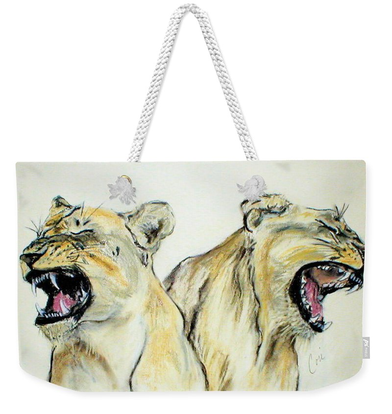 Lion Weekender Tote Bag featuring the drawing Roaring Times by Cori Solomon