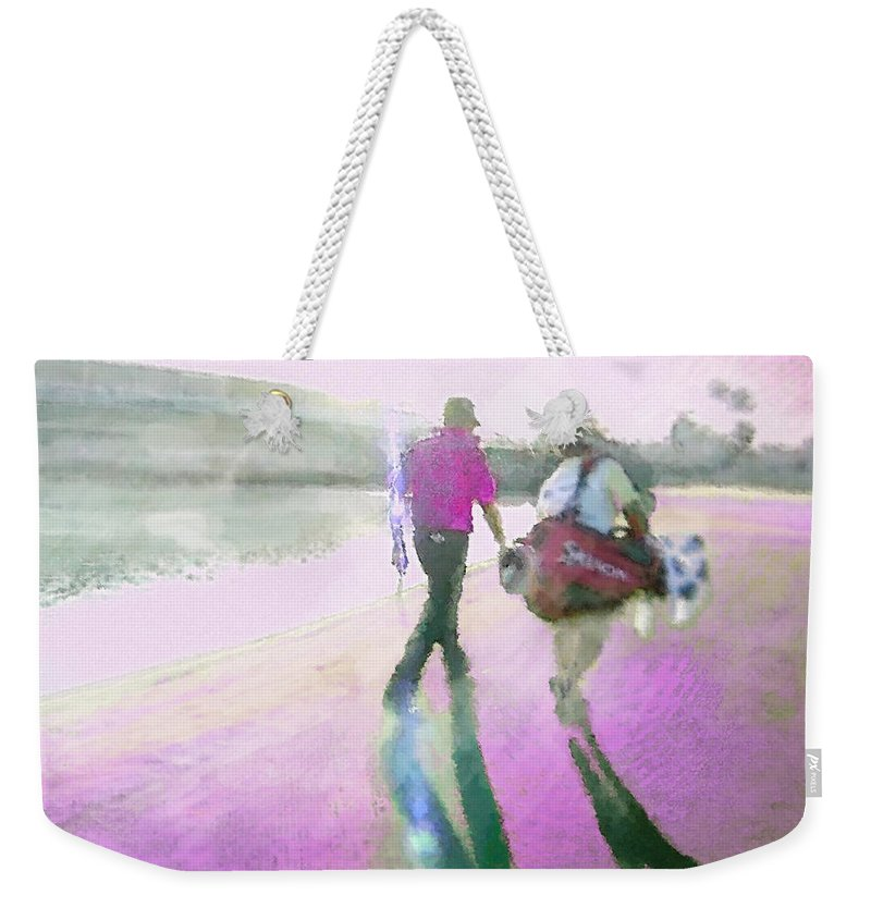 Robert Allenby Weekender Tote Bag featuring the digital art Robert Allenby Playing A Round Of Golf Dedicated To His Mother by Miki De Goodaboom