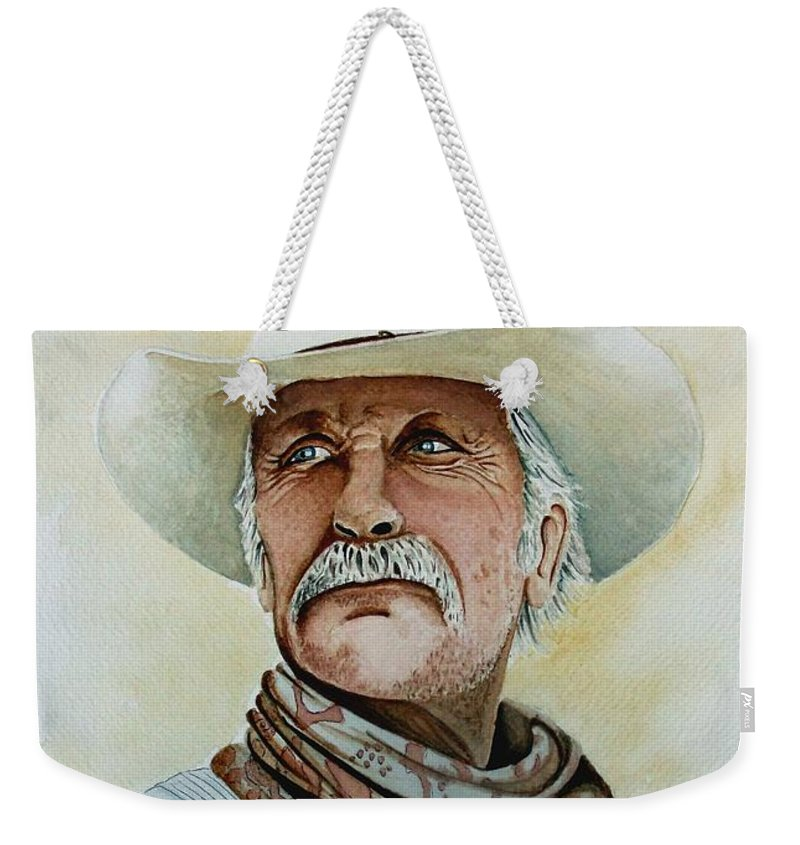 Cowboy Weekender Tote Bag featuring the painting Robert Duvall As Augustus Mccrae In Lonesome Dove by Jimmy Smith
