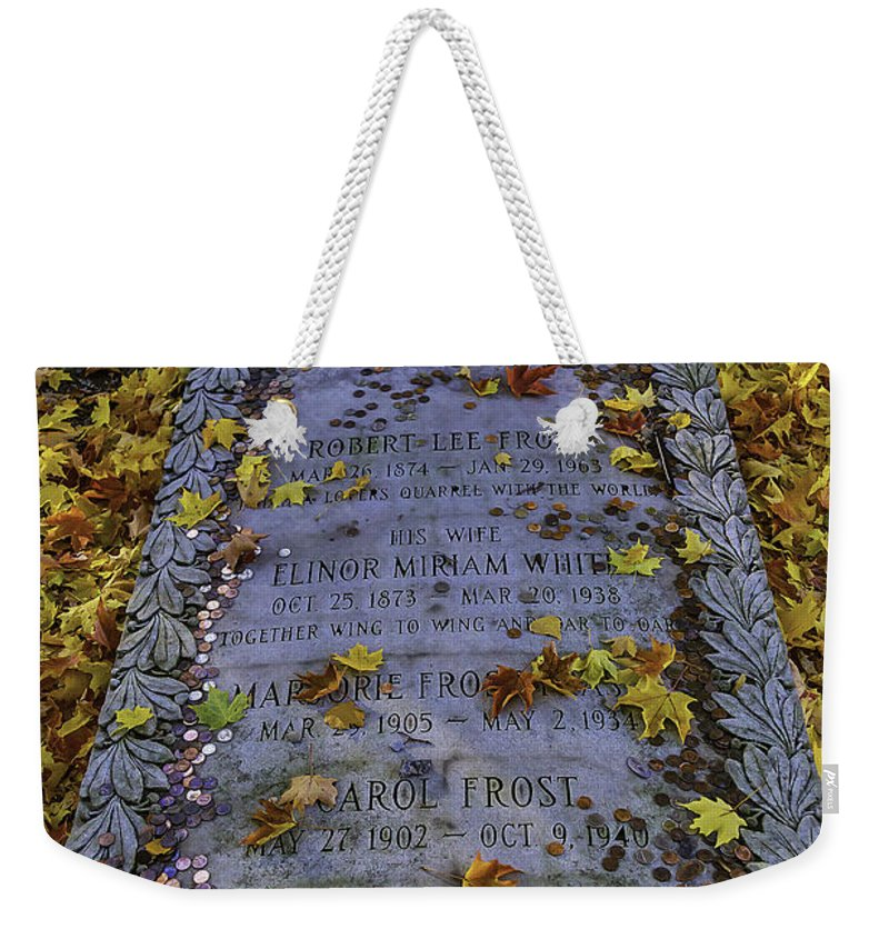 Robert Frosts Grave Weekender Tote Bag featuring the photograph Robert Frosts Grave by Garry Gay