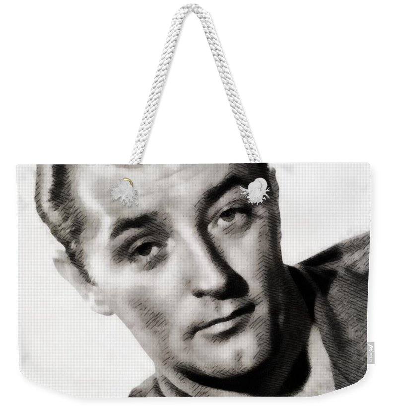 Hollywood Weekender Tote Bag featuring the painting Robert Mitchum, Vintage Actor by John Springfield