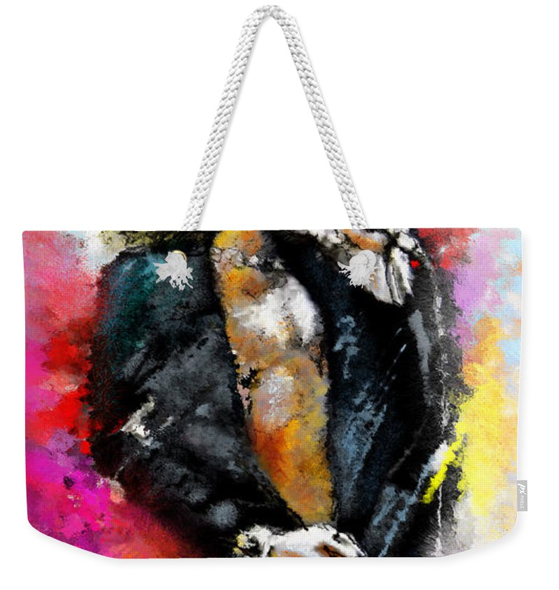 Music Weekender Tote Bag featuring the painting Robert Plant 03 by Miki De Goodaboom