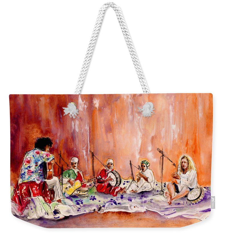 Music Weekender Tote Bag featuring the painting Robert Plant And Jimmy Page In Morocco by Miki De Goodaboom