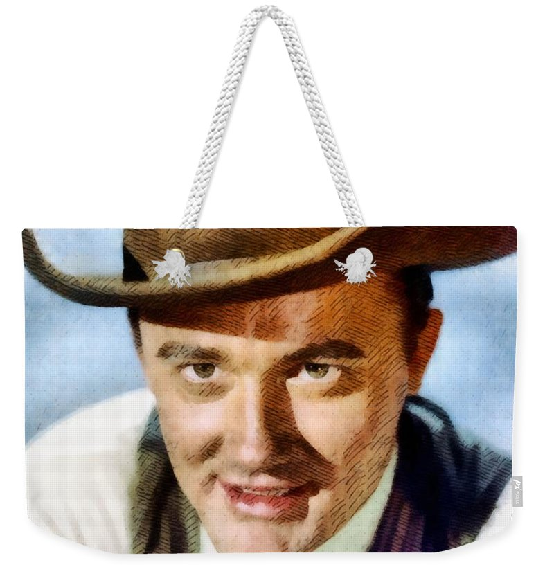 Hollywood Weekender Tote Bag featuring the painting Robert Vaughn, Vintage Actor by John Springfield