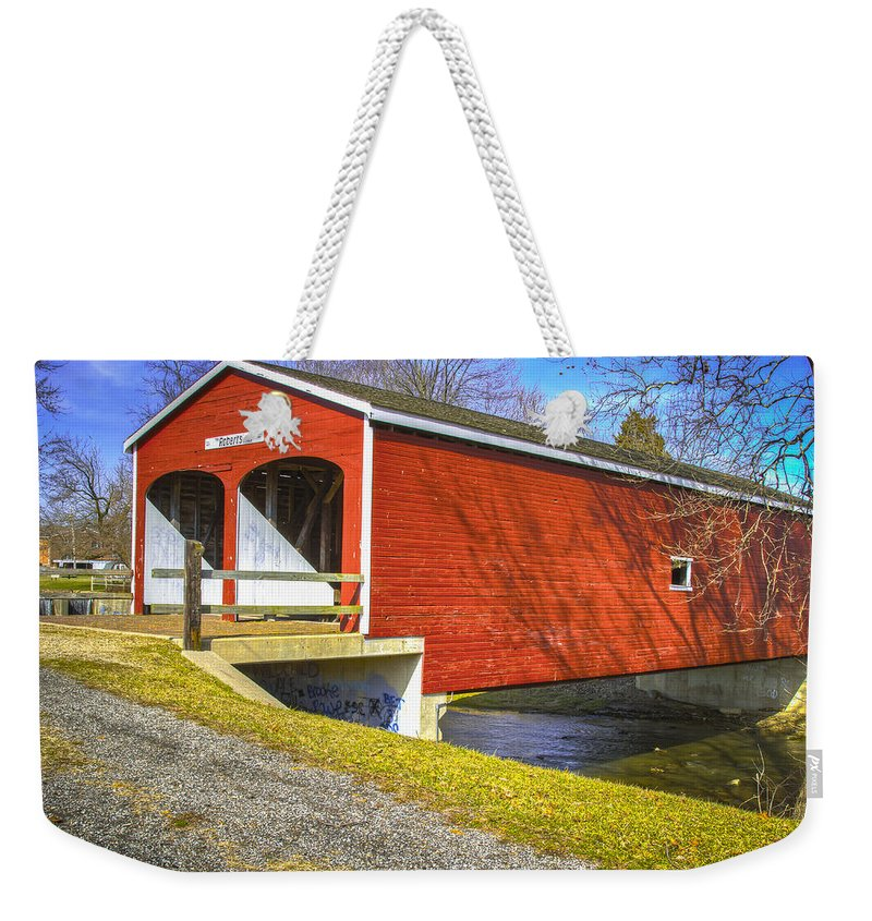 Ohio Weekender Tote Bag featuring the photograph Roberts Covered Bridge by Jack R Perry