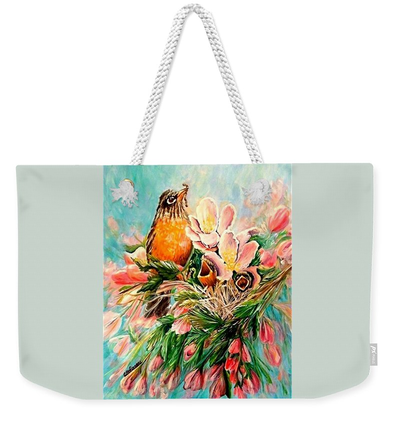 Robins Weekender Tote Bag featuring the painting Robin Hood by Carol Allen Anfinsen