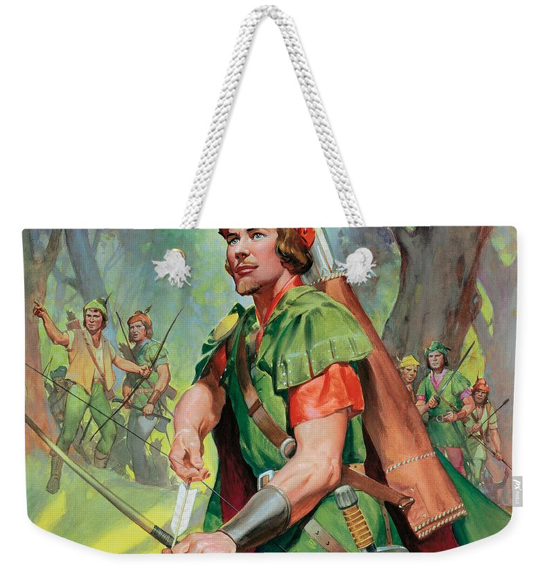 Robin Weekender Tote Bag featuring the painting Robin Hood by James Edwin McConnell
