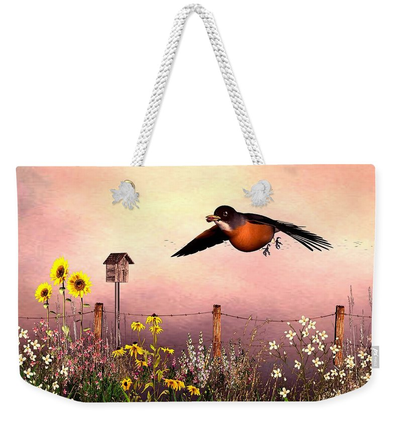 Bird Weekender Tote Bag featuring the digital art Robin In Flight by John Junek