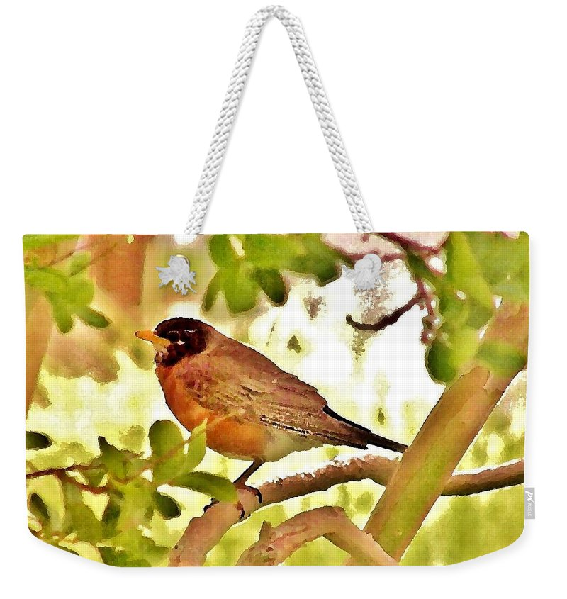 Weekender Tote Bag featuring the photograph Robin In Tree by Kim Bemis