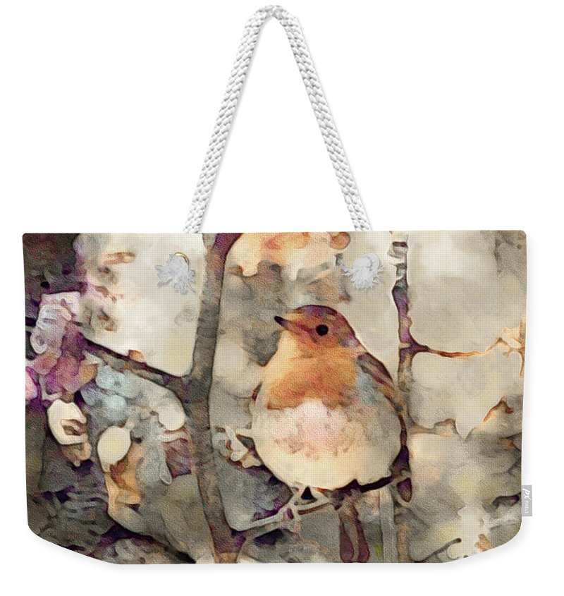 Robin Song Of Spring Weekender Tote Bag featuring the mixed media Robin Song Of Spring by Susan Maxwell Schmidt