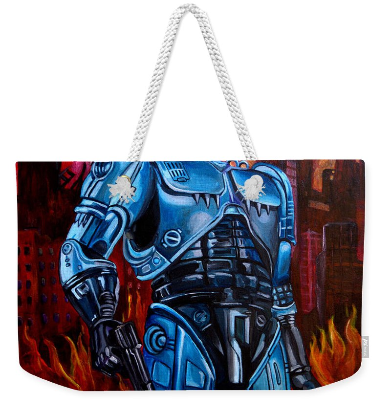 Robocop Weekender Tote Bag featuring the painting Robocop by Jose Mendez