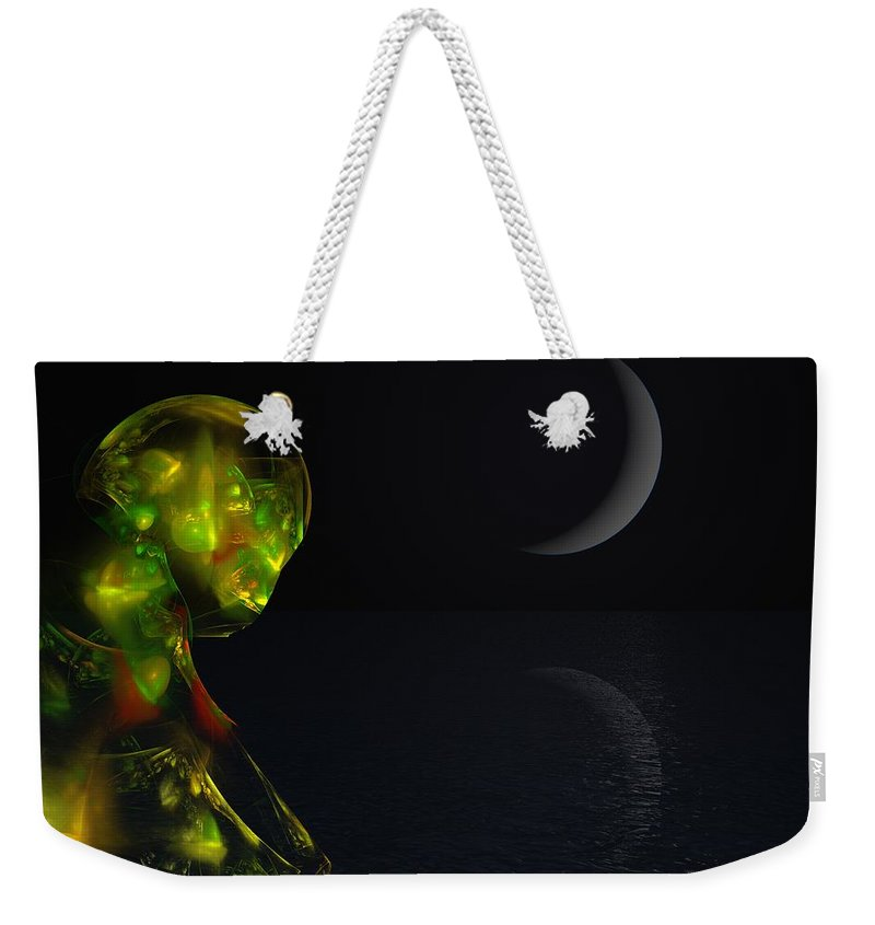 Abstract Digital Painting Weekender Tote Bag featuring the digital art Robot Moonlight Serenade by David Lane