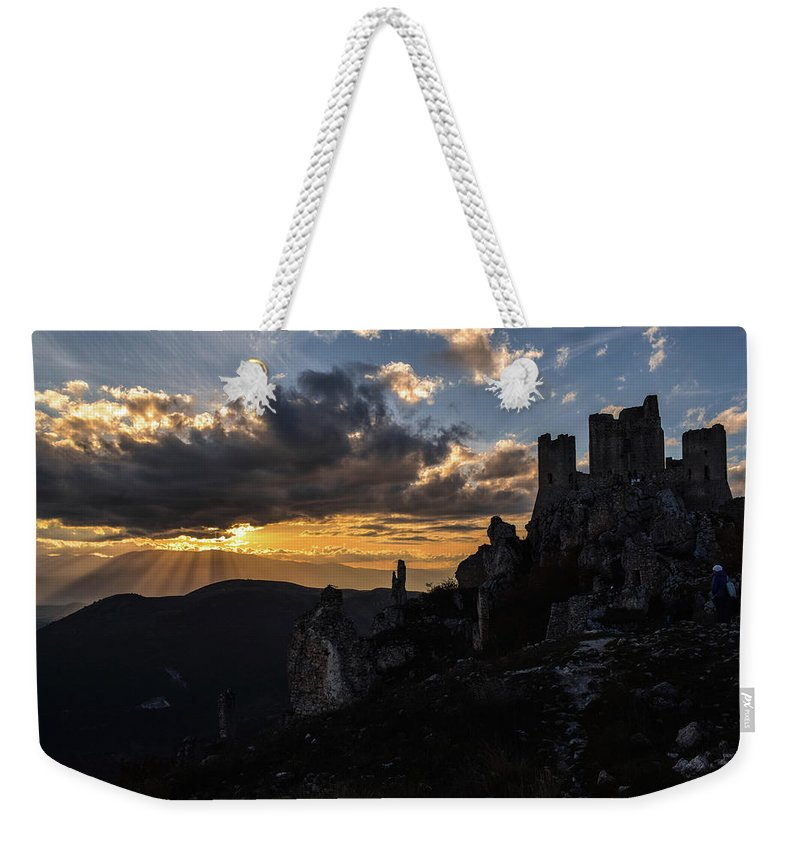Sunset Weekender Tote Bag featuring the photograph Rocca Calascio, Italy by Valeria Di Febo