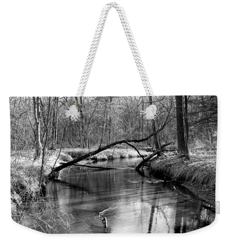 Black And White Weekender Tote Bag featuring the photograph Roche-a-cri State Park by Lauren Radke