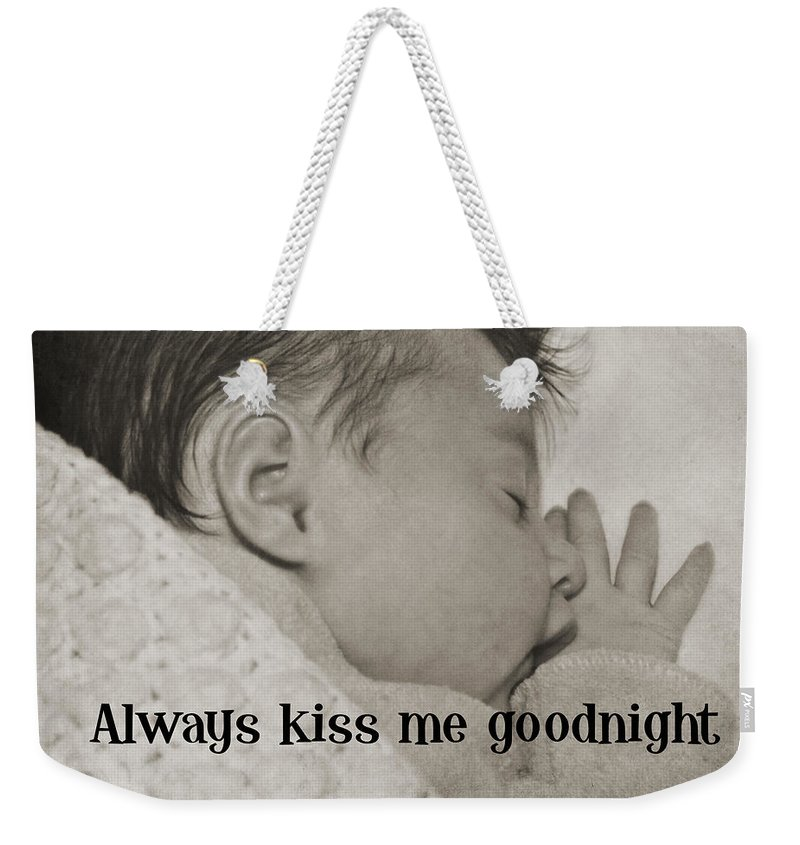 Baby Weekender Tote Bag featuring the photograph Rock A Bye Baby Quote by JAMART Photography