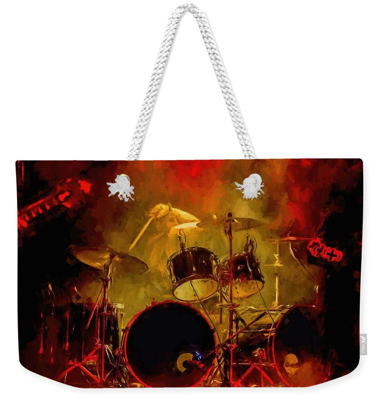 Rock And Roll Drum Solo # Rock And Roll # Drum Set # Rock And Roll Drum Paintings # Abstract Music Art # Zildjian # Drum Solo Painting # Concert # Smoke # Fog # Weekender Tote Bag featuring the digital art Rock And Roll Drum Solo by Louis Ferreira
