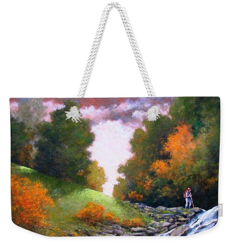Artist Weekender Tote Bag featuring the painting Rock Creek by Jim Gola