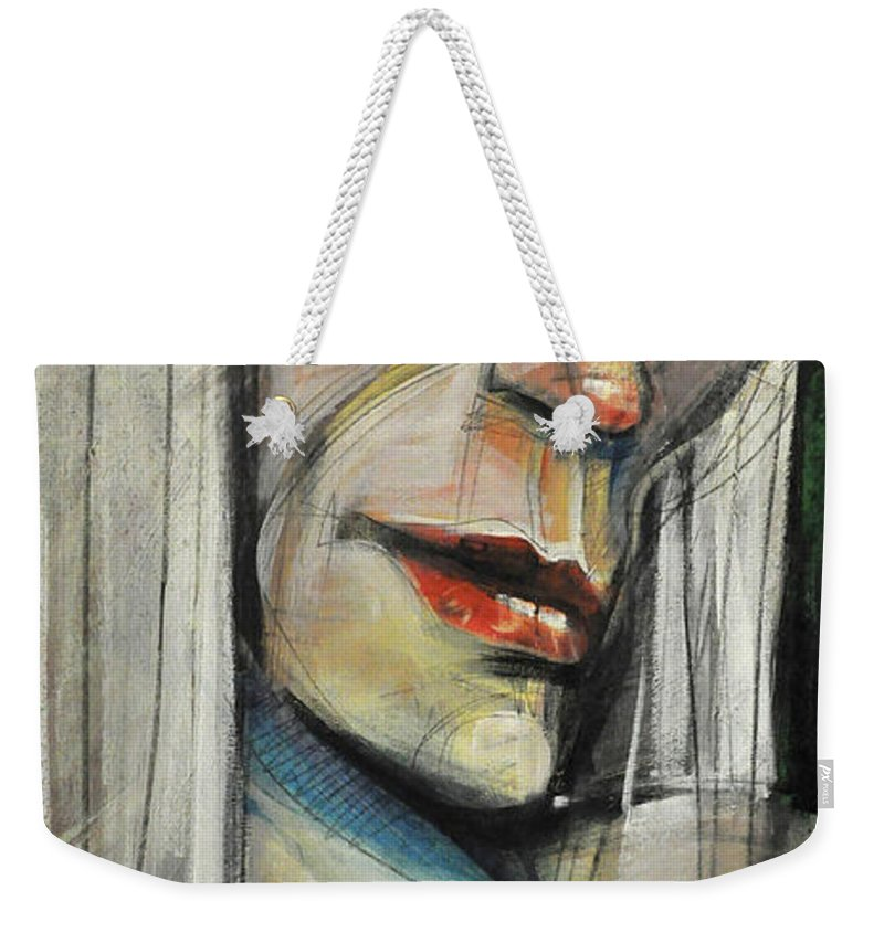 Woman Weekender Tote Bag featuring the painting Rock Diva Or Pris by Tim Nyberg