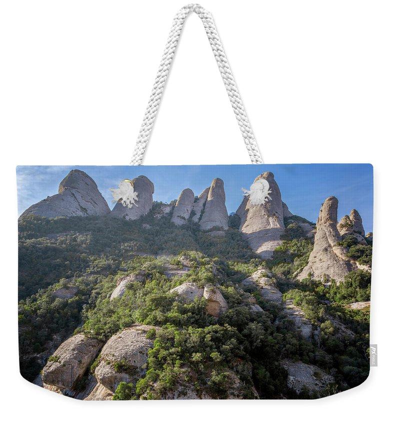 Montserrat Weekender Tote Bag featuring the photograph Rock Formations Montserrat Spain by Joan Carroll