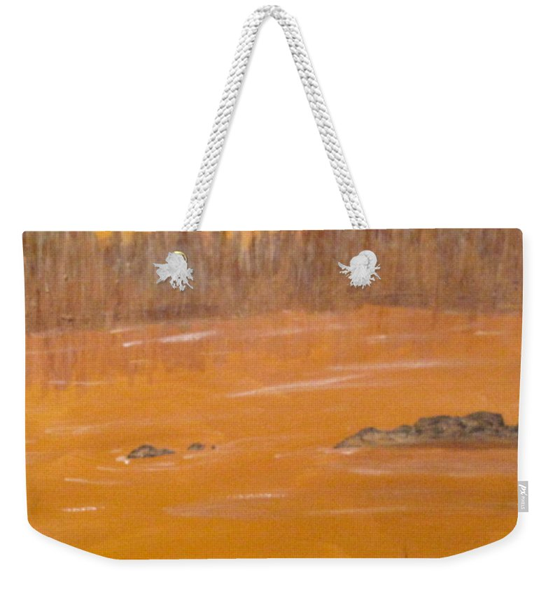 Northern Ontario Weekender Tote Bag featuring the painting Rock Lake Morning 2 by Ian MacDonald