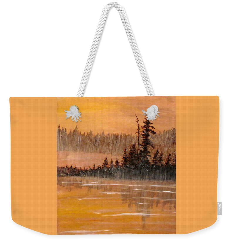 Northern Ontario Weekender Tote Bag featuring the painting Rock Lake Morning 3 by Ian MacDonald
