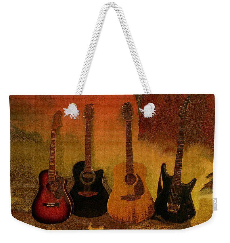 Music Weekender Tote Bag featuring the photograph Rock N Roll Guitars by Linda Sannuti