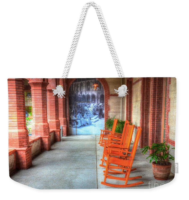 Chairs Weekender Tote Bag featuring the photograph Rock On by Debbi Granruth