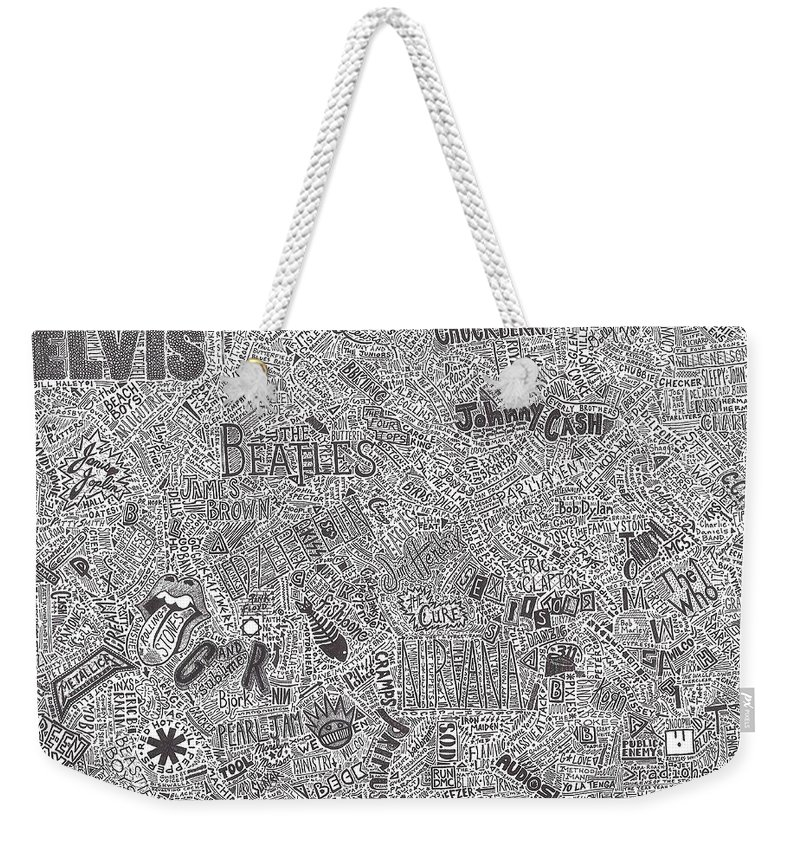 Rock And Roll Weekender Tote Bag featuring the drawing Rock Timeline by Mark Richardson