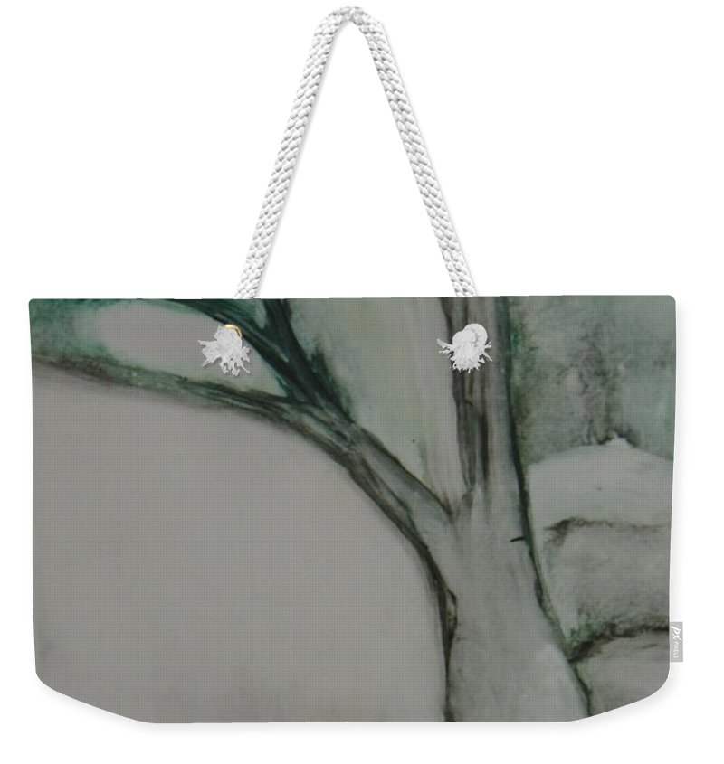 Monoprint Tree Rock Trees Weekender Tote Bag featuring the painting Rock Tree by Leila Atkinson