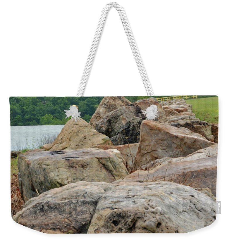 Lake Weekender Tote Bag featuring the photograph Rock Wall by Diane Friend