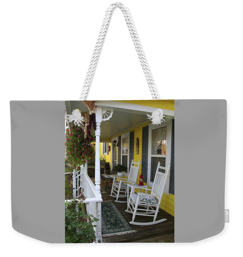 Rocking Chair Weekender Tote Bag featuring the photograph Rockers On The Porch by Margie Wildblood