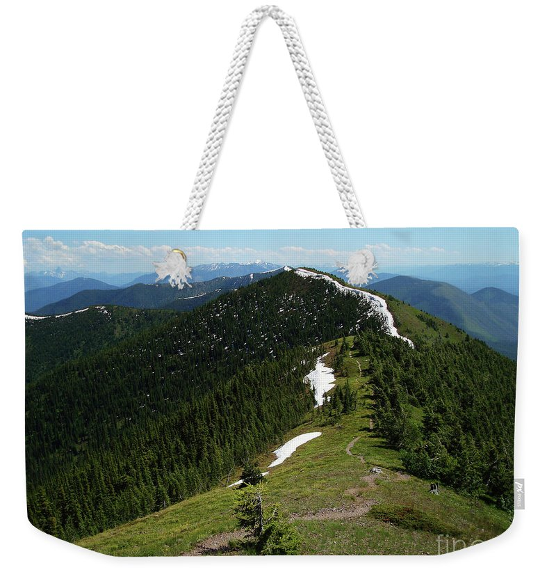 Hiking Weekender Tote Bag featuring the photograph Rockies Ridgeline by Maili Page