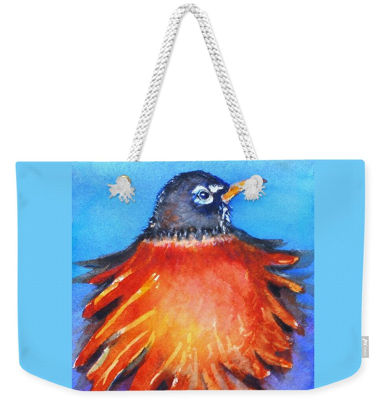 Bird Weekender Tote Bag featuring the painting Rockin Robin by Patricia Piffath