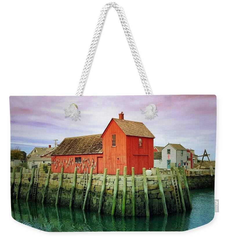 Landscape Weekender Tote Bag featuring the painting Rockport, Motif No. 1, Fishing Shack by Jane Fiala