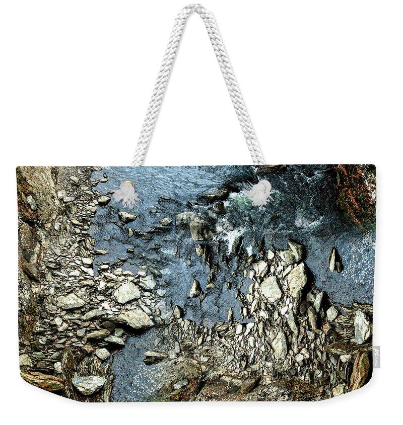 Rocks Weekender Tote Bag featuring the digital art Rocks In The River by William Bader
