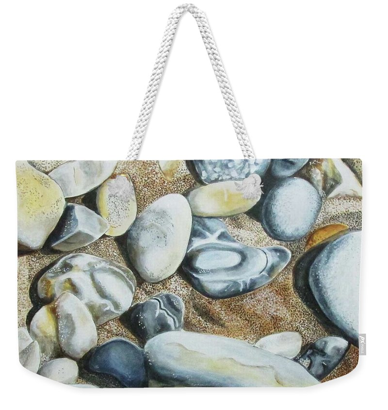 Landscapes Weekender Tote Bag featuring the painting Rocks On Beach by Suzahn King