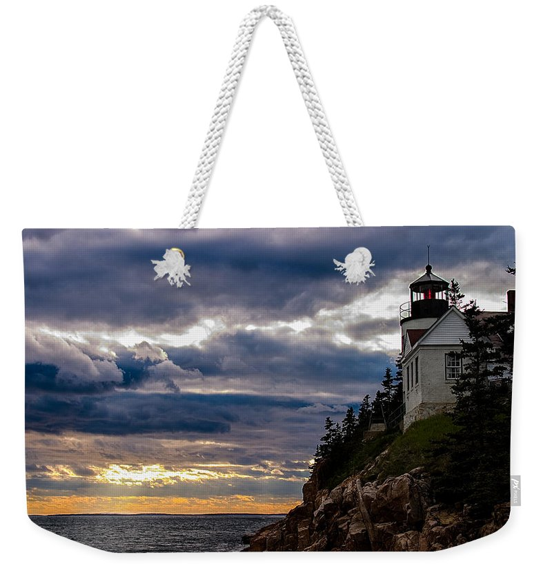 Acadia Weekender Tote Bag featuring the photograph Rocky Cliffs Below Maine Lighthouse by Jeff Folger