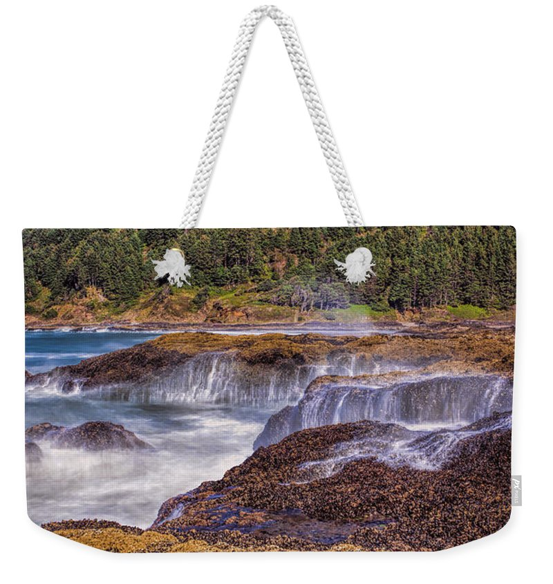 Thor's Well Weekender Tote Bag featuring the photograph Rocky Coast by Diana Powell
