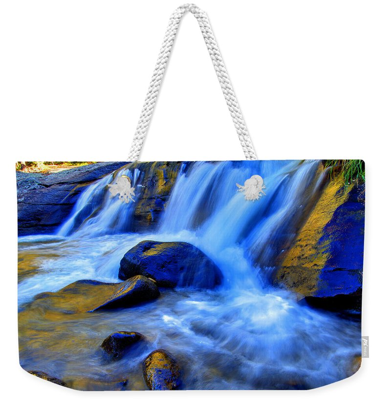 Cascade Weekender Tote Bag featuring the photograph Rocky Mountain Cascade by Scott Mahon