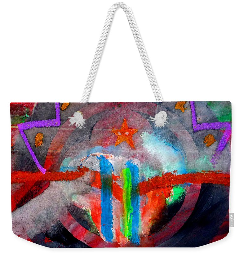 Button Weekender Tote Bag featuring the painting Rocky Mountain Pass by Charles Stuart
