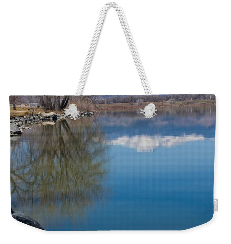 Twin Peeks Weekender Tote Bag featuring the photograph Rocky Mountain Reflections by James BO Insogna