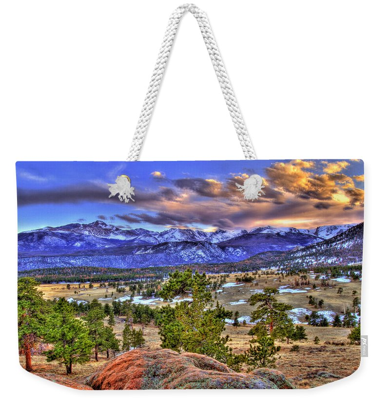 Colorado Weekender Tote Bag featuring the photograph Rocky Mountain Sunset by Scott Mahon