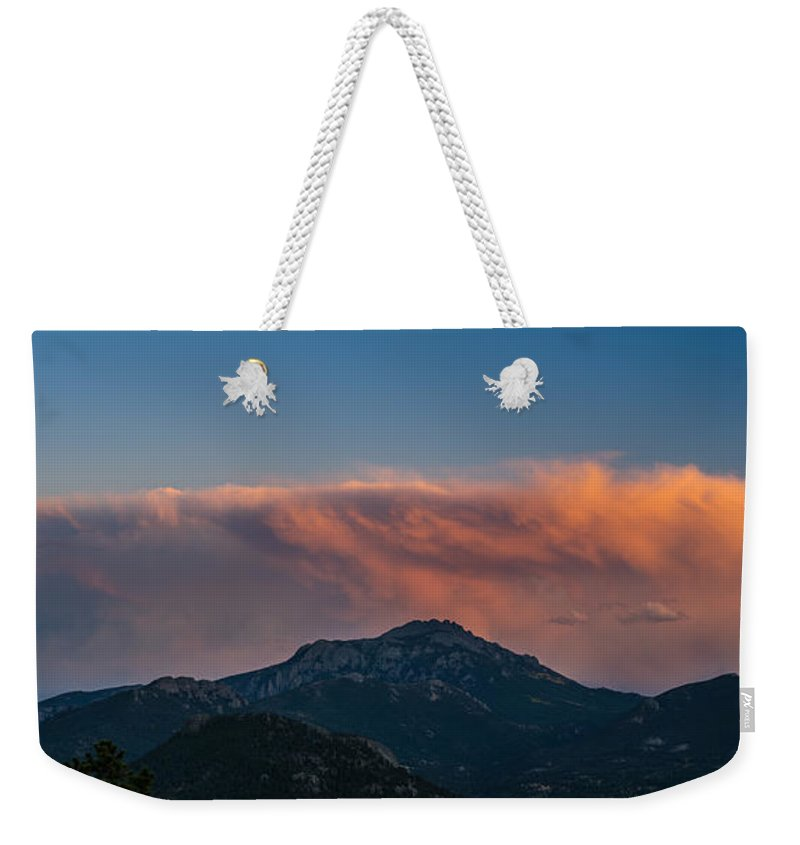 Rocky Weekender Tote Bag featuring the photograph Rocky Mountain Sunset by Steve Gadomski
