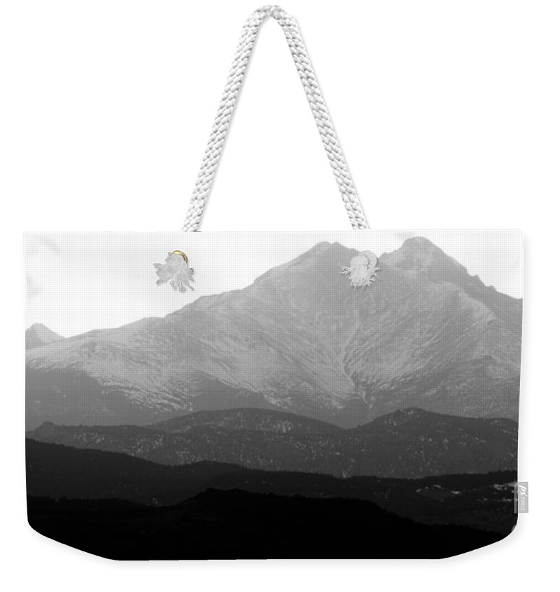 Twin Peaks Weekender Tote Bag featuring the photograph Rocky Mountain Twin Peaks Bw by James BO Insogna