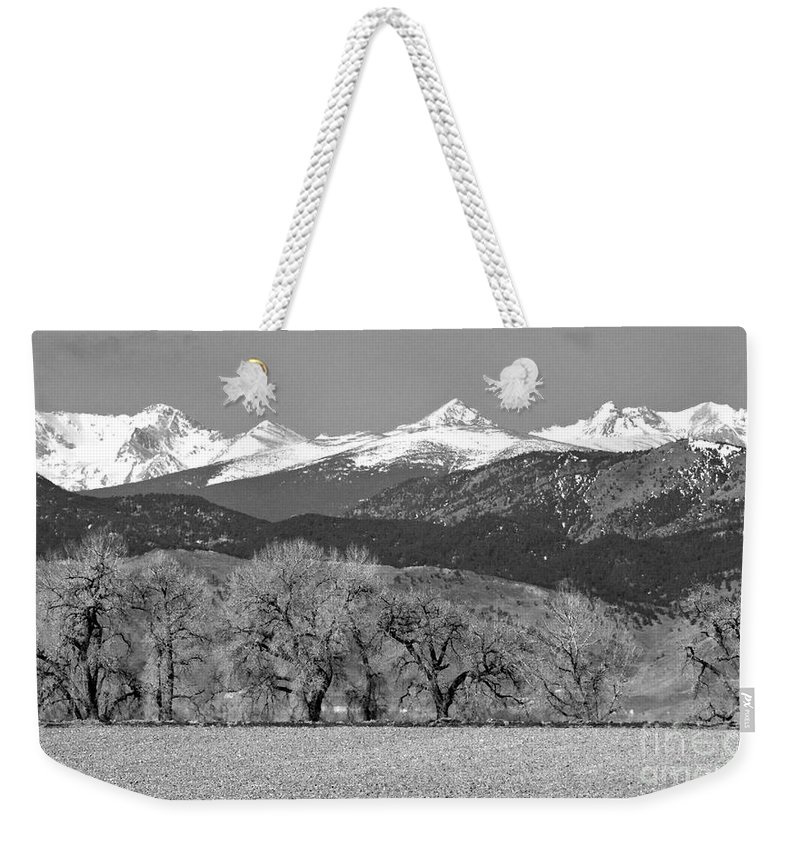 Rocky Mountains Weekender Tote Bag featuring the photograph Rocky Mountain View Bw by James BO Insogna