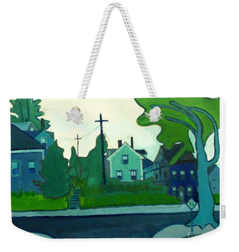Landscape Weekender Tote Bag featuring the painting Rocky Neck Art Colony East Gloucester Ma by Debra Bretton Robinson
