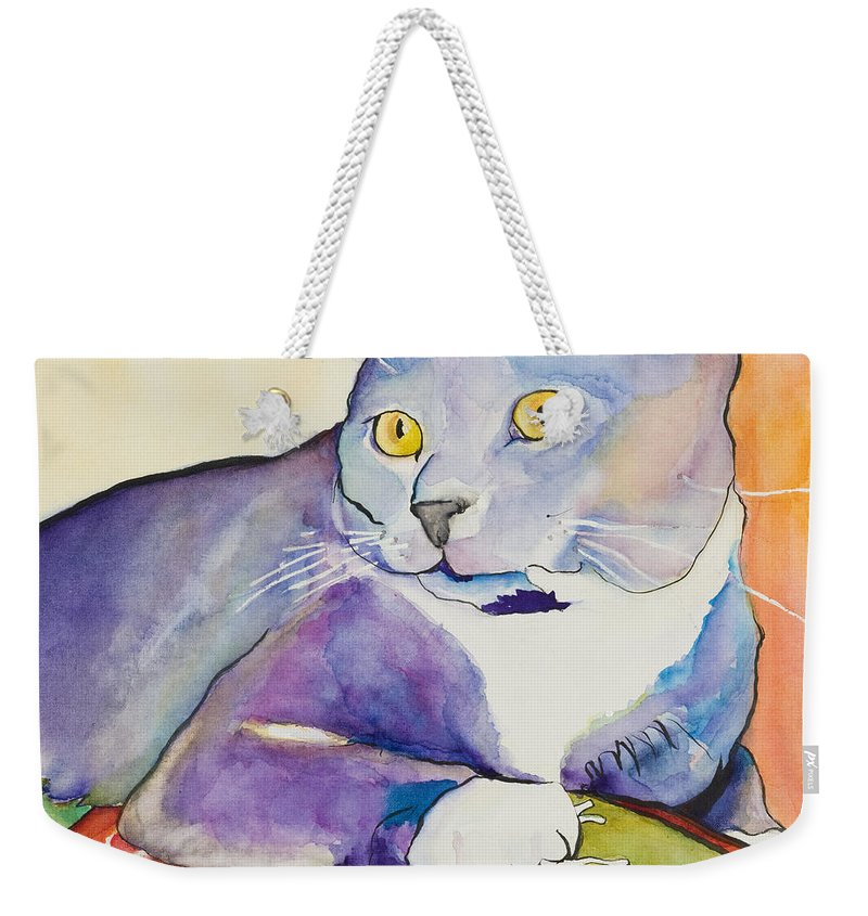 Pat Saunders-white Weekender Tote Bag featuring the painting Rocky by Pat Saunders-White