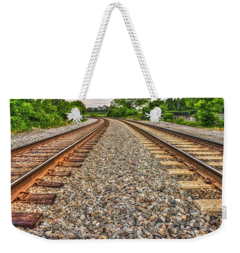 Reid Callaway Rocky Railroad Rails Weekender Tote Bag featuring the photograph Rocky Railroad Rails by Reid Callaway