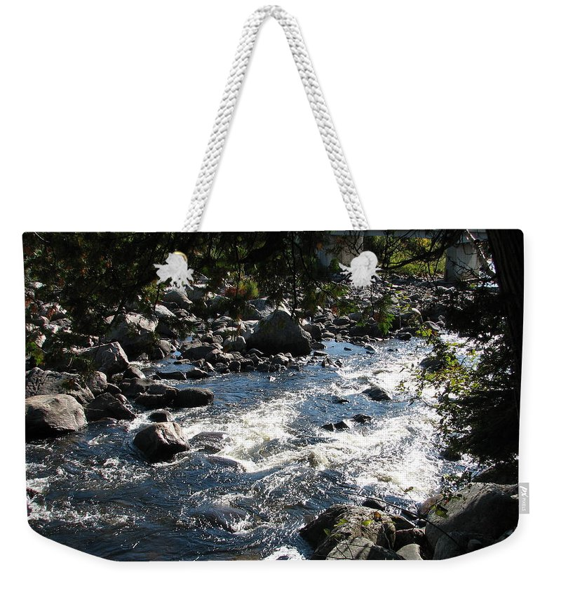Water Weekender Tote Bag featuring the photograph Rocky Rapids by Kelly Mezzapelle